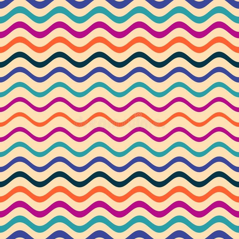 五颜六色的无缝的波浪线样式 库存例证
