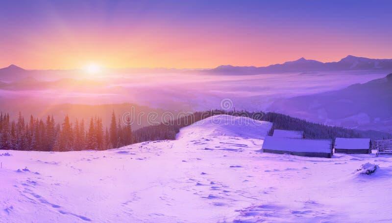 五颜六色的日出冬天 免版税库存照片