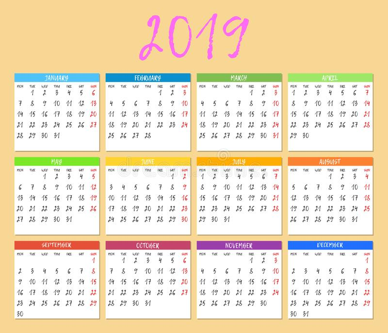 五颜六色的日历在2019年 日历模板 星期星期一开始 向量图片