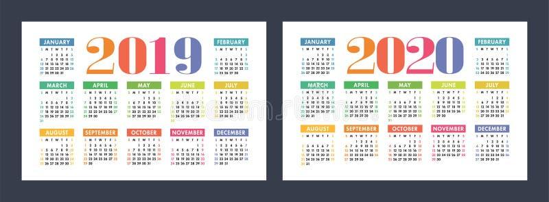 五颜六色的日历设置了2019年2020年 明亮,乐趣,逗人喜爱 皇族释放例证