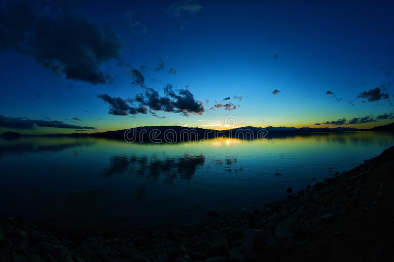 五颜六色的日落在犹他 库存图片