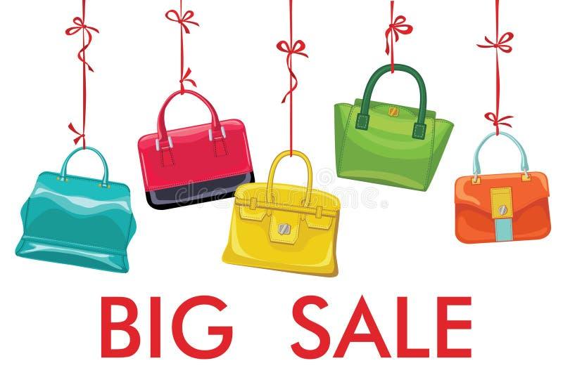 五颜六色的时尚妇女的在丝带的提包吊 大销售额 向量例证