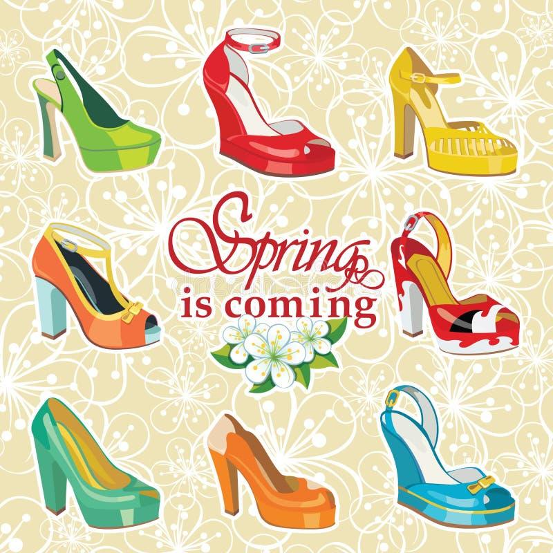 五颜六色的时尚妇女的在春天的高跟鞋鞋子  库存例证