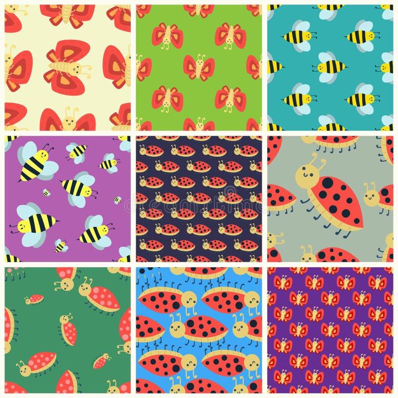 五颜六色的昆虫无缝的样式野生生物翼细节夏天蠕虫毛虫烦扰狂放的传染媒介例证 向量例证