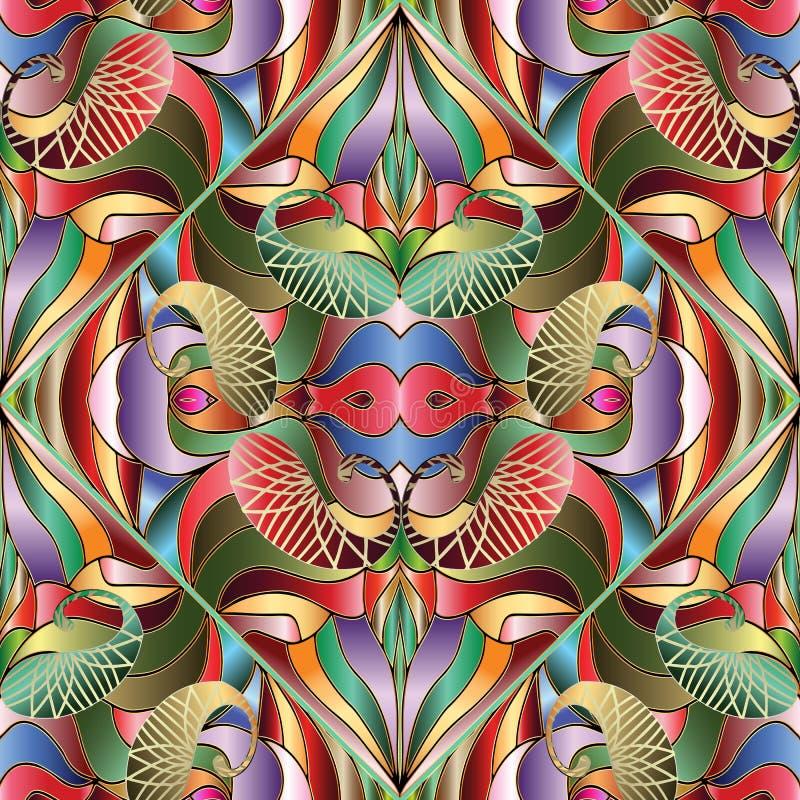 五颜六色的明亮的抽象佩兹利无缝的样式 传染媒介geomet 库存例证