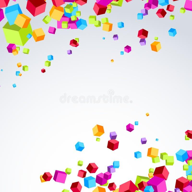 五颜六色的明亮的立方体爆炸了微粒背景 向量例证