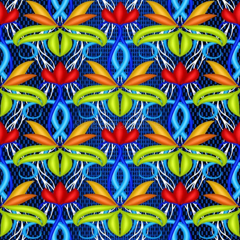 五颜六色的明亮的花卉传染媒介3d无缝的样式 E 装饰装饰重复背景 ? 库存例证