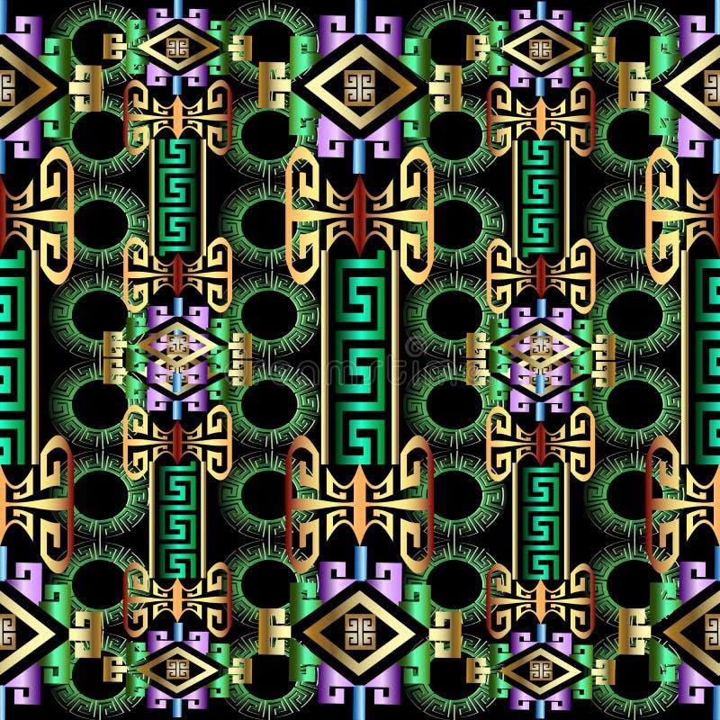 五颜六色的明亮的3d几何希腊无缝的样式 皇族释放例证