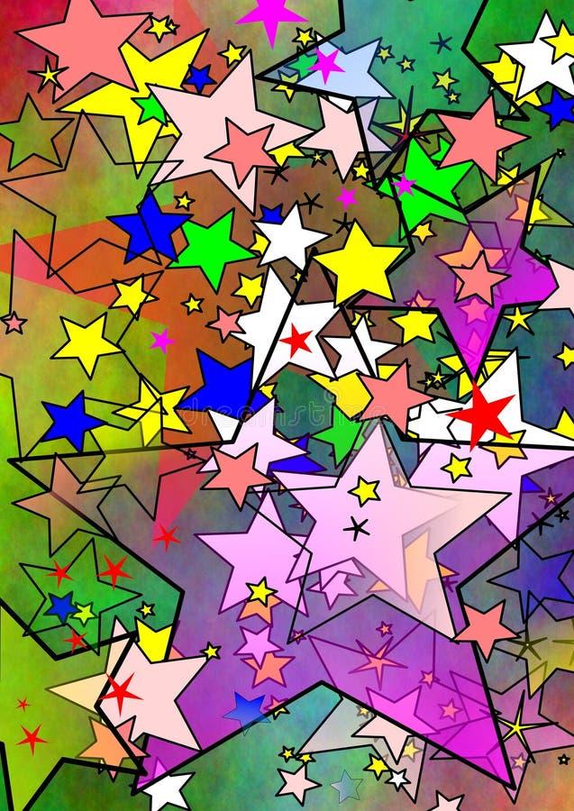 五颜六色的星形宇宙 库存例证
