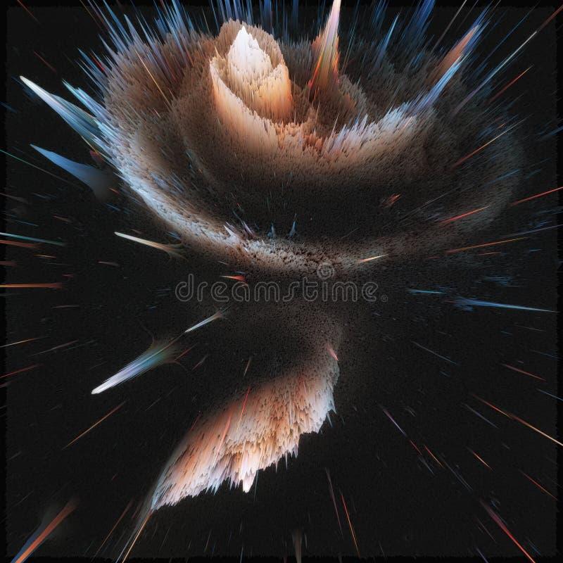 五颜六色的星系摘要宇宙背景 发光的幻想宇宙 深深波斯菊 无限探险 3d例证 图库摄影