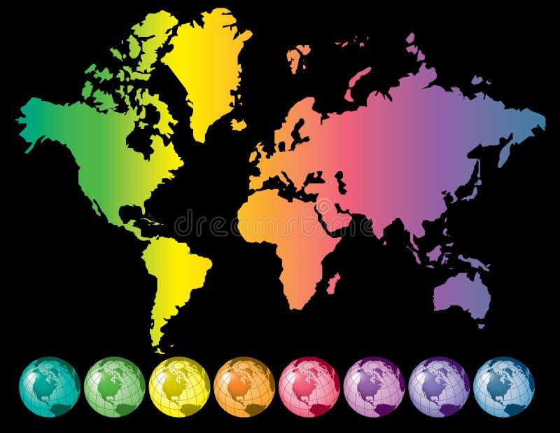 五颜六色的映射世界 皇族释放例证