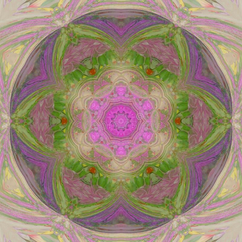 五颜六色的春天花卉坛场马赛克,作用万花筒 库存例证