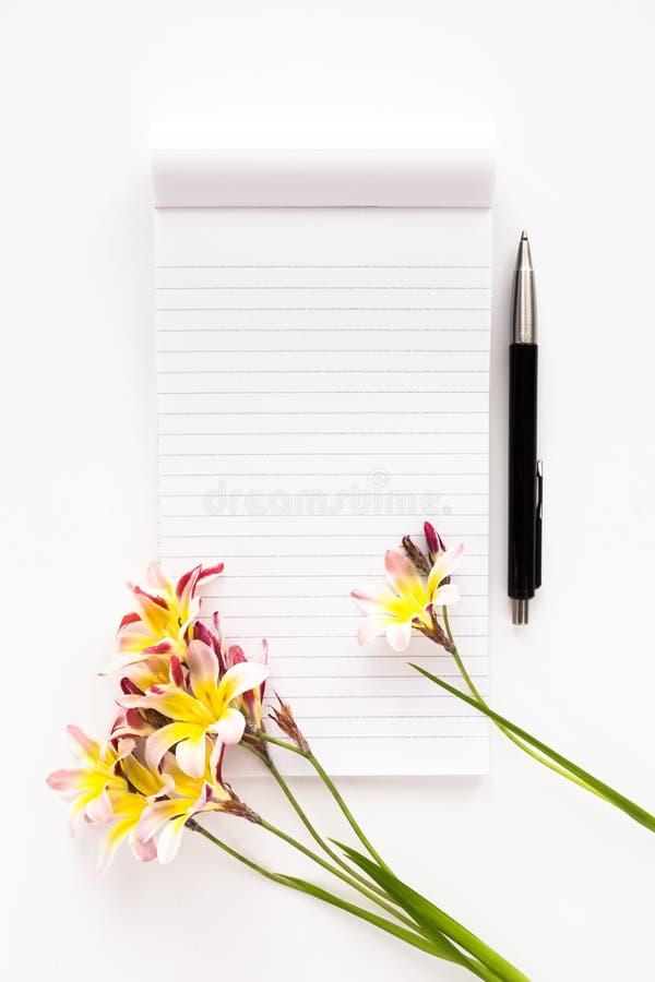 五颜六色的春天花,与文本和笔的空白开放笔记薄 库存图片