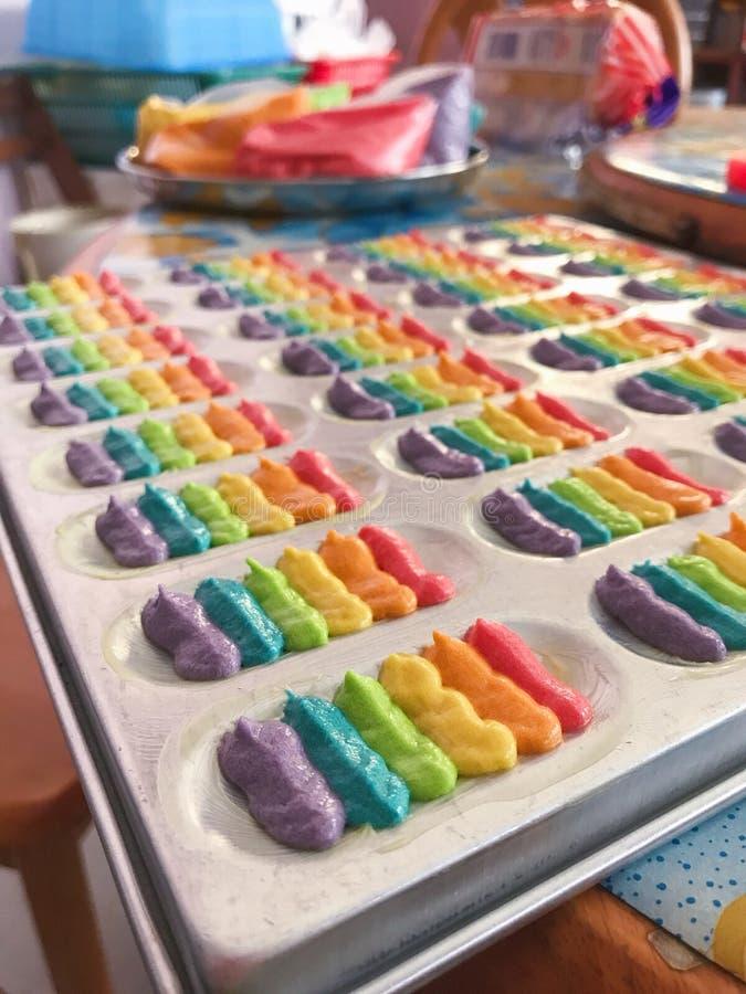 五颜六色的曲奇饼面团 免版税图库摄影