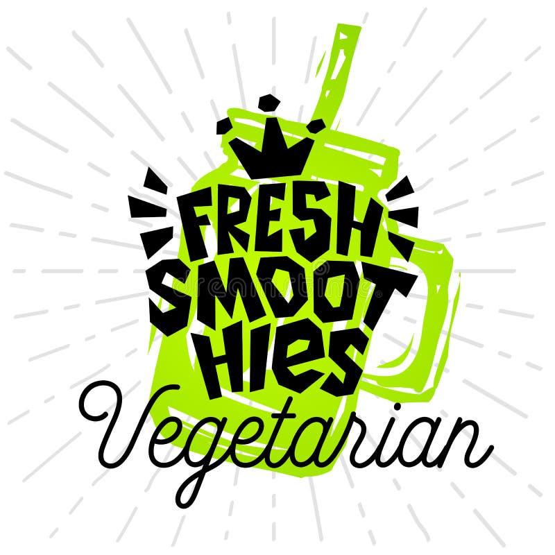 五颜六色的有机商标象征光芒亮光标签海报贴纸食物瓶子圆滑的人剪影样式新鲜的健康的冰淇凌 库存例证