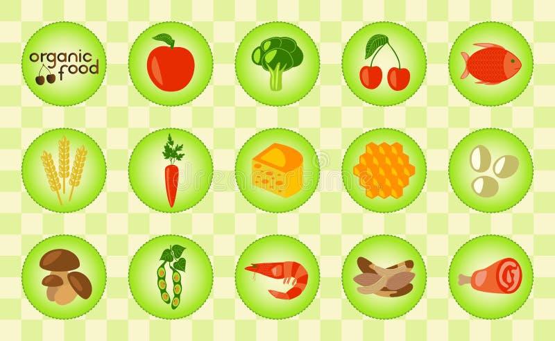 五颜六色的有机食品设置了用玉米、乳制品、肉、菜、海鲜、鸡蛋、莓果和蜂蜜 皇族释放例证