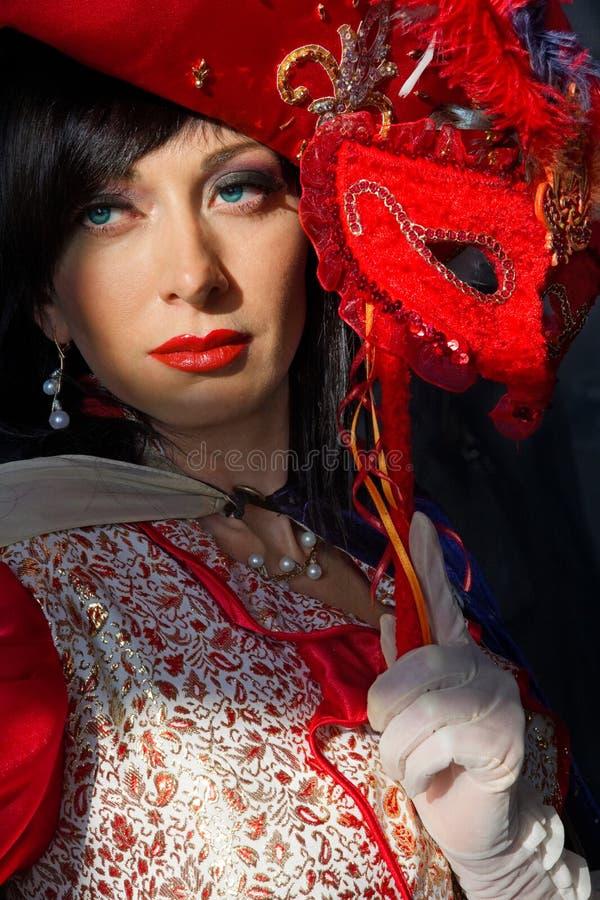 五颜六色的服装中世纪妇女 库存图片