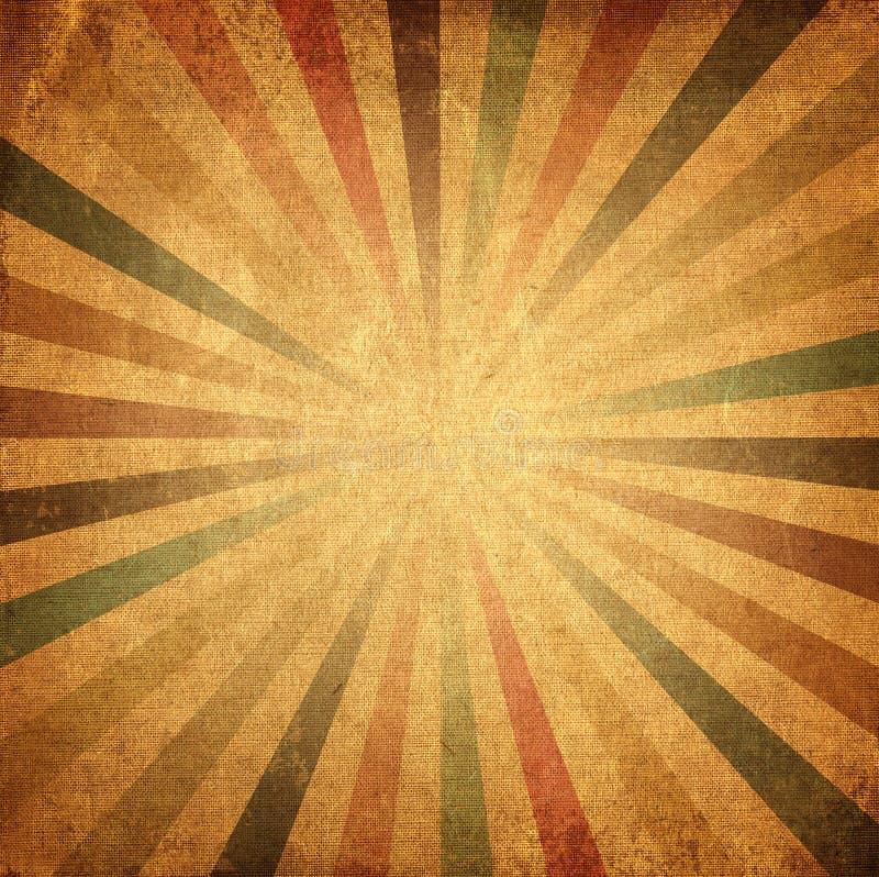 五颜六色的朝阳或太阳光芒,太阳破裂了减速火箭的纸背景 向量例证