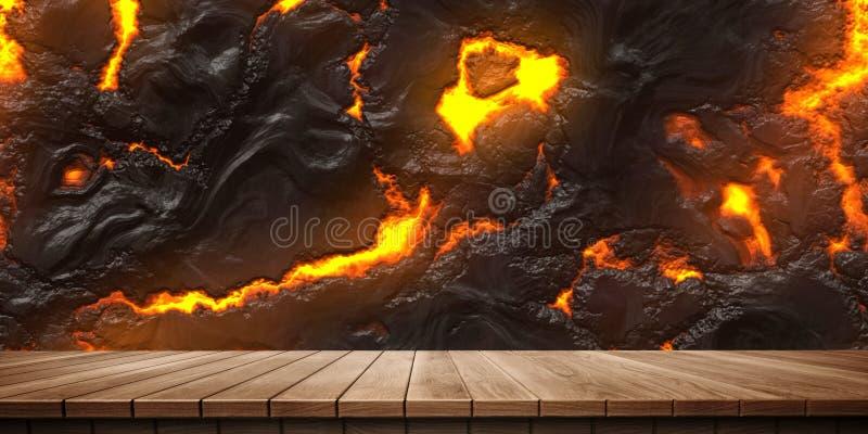 五颜六色的木平台和岩浆/熔岩背景,正面图特写镜头  向量例证
