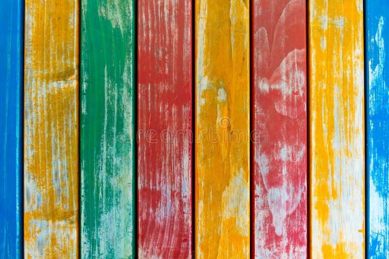 五颜六色的木板条纹理背景 黄色,蓝色,绿色和 免版税库存图片