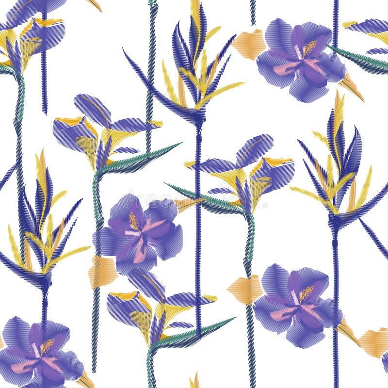 五颜六色的木槿fl的无缝的蓝色热带无缝的样式 库存例证
