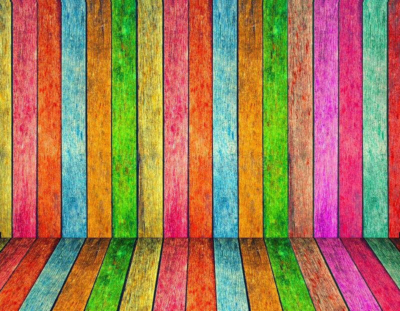 五颜六色的木纹理背景 免版税库存图片