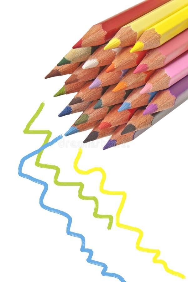 五颜六色的木铅笔 免版税库存照片