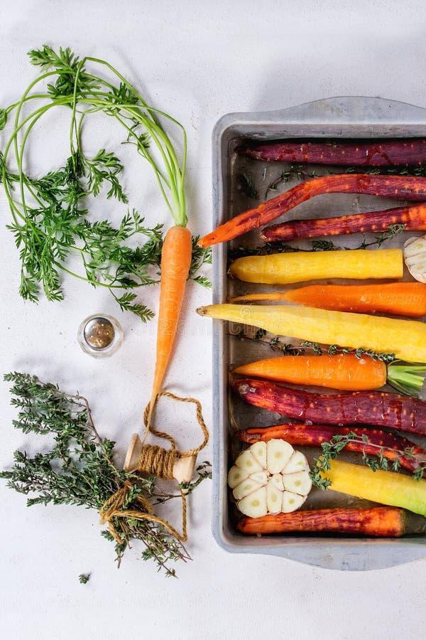五颜六色的未加工的红萝卜 库存图片