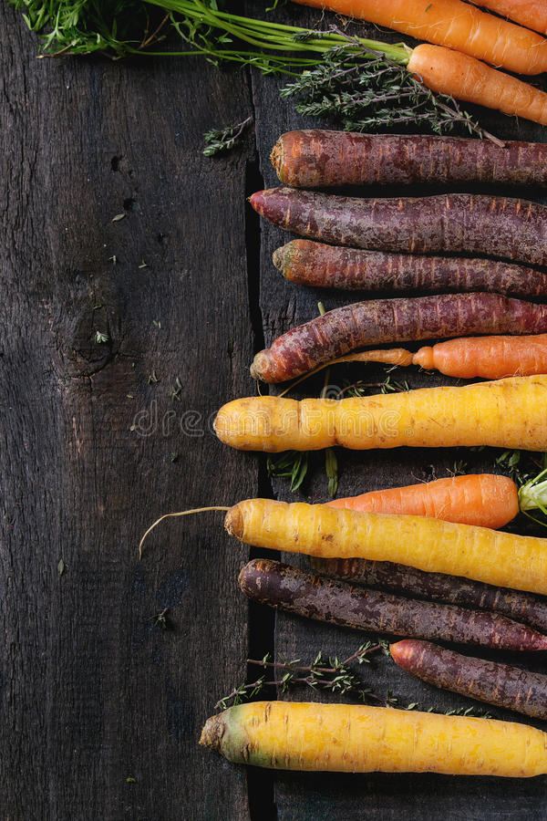 五颜六色的未加工的红萝卜 免版税库存图片