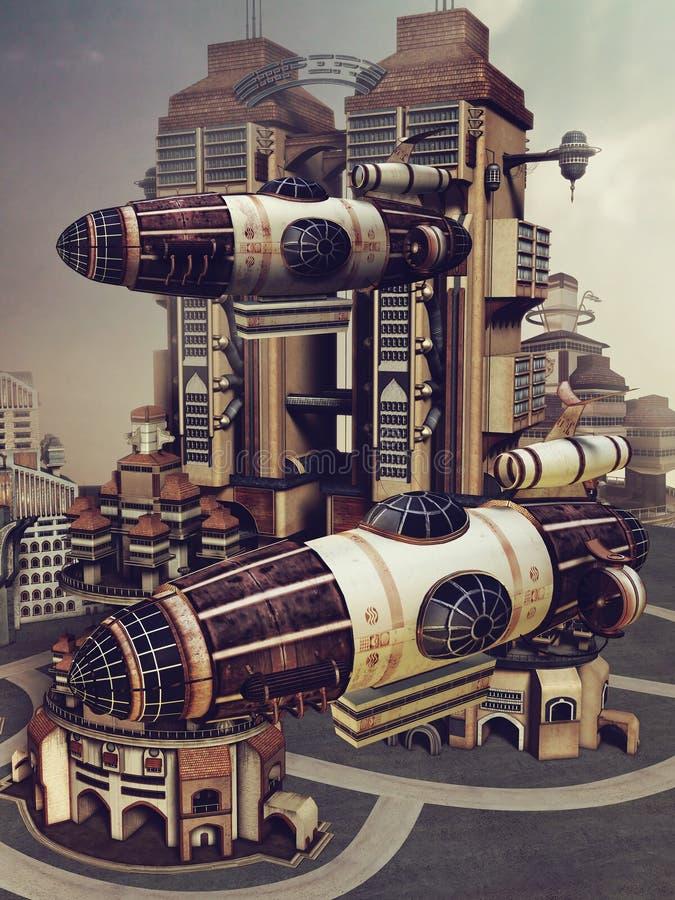 五颜六色的未来派城市 库存例证
