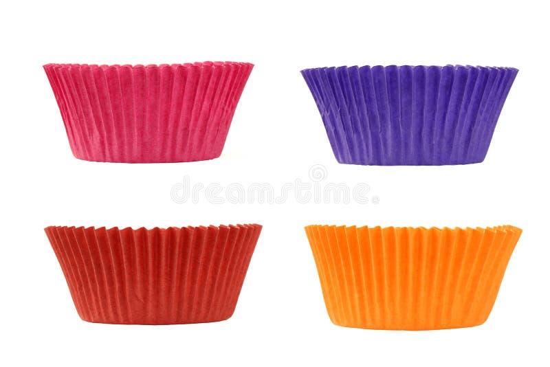 五颜六色的杯子倒空四松饼 库存图片