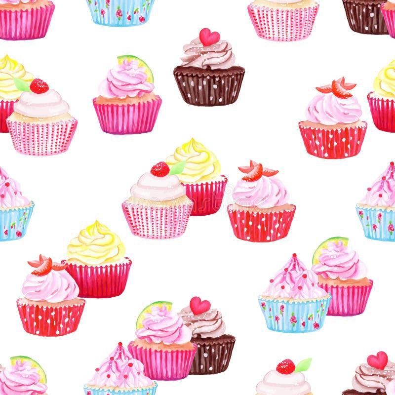 五颜六色的杯形蛋糕传染媒介无缝的样式 皇族释放例证