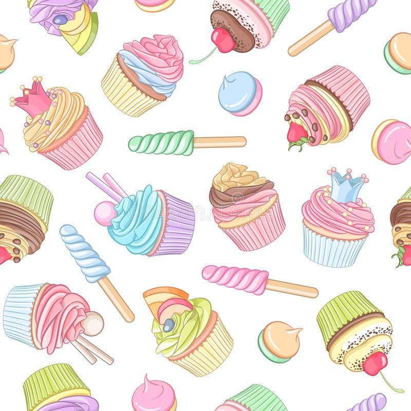 五颜六色的杯形蛋糕棒棒糖蛋白软糖无缝的传染媒介样式 皇族释放例证