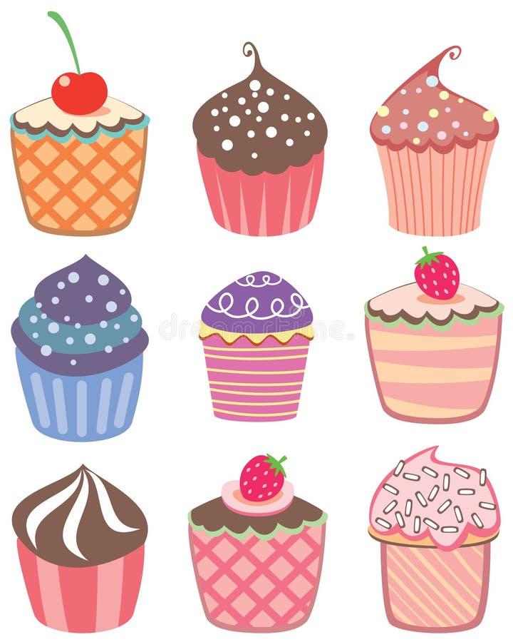 五颜六色的杯形蛋糕 向量例证
