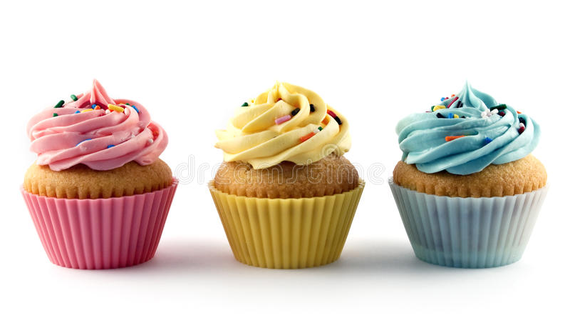 五颜六色的杯形蛋糕 免版税库存照片