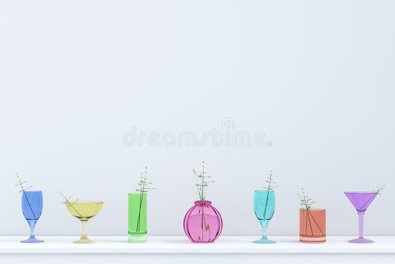 五颜六色的杯水背景在圣诞节和新年晚会天 库存图片