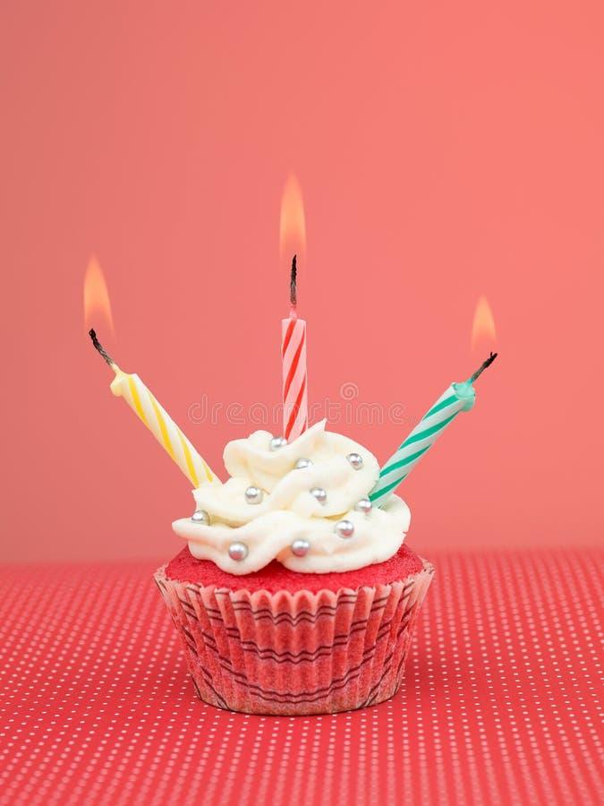 五颜六色的松饼蜡烛 库存照片
