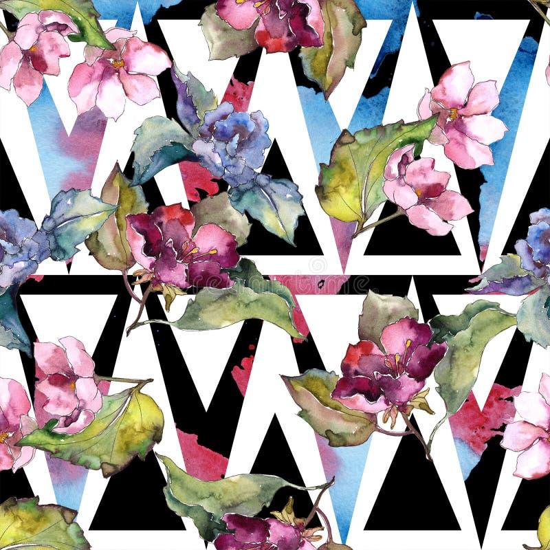五颜六色的栀子花 花卉植物的花 无缝的背景模式 皇族释放例证