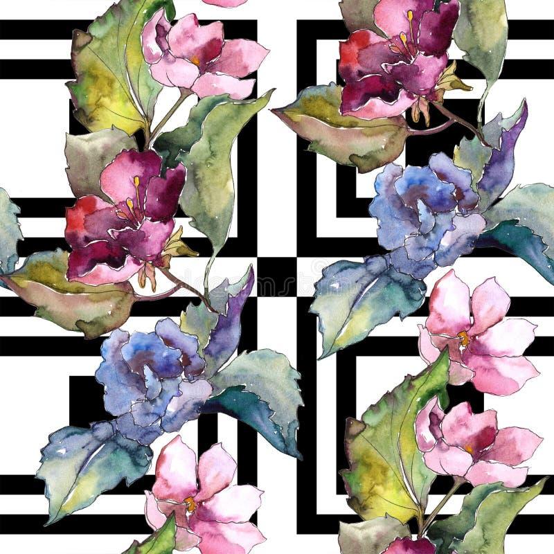 五颜六色的栀子花 花卉植物的花 无缝的背景模式 向量例证