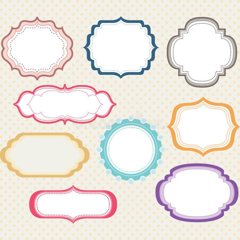五颜六色的标签框架 库存例证