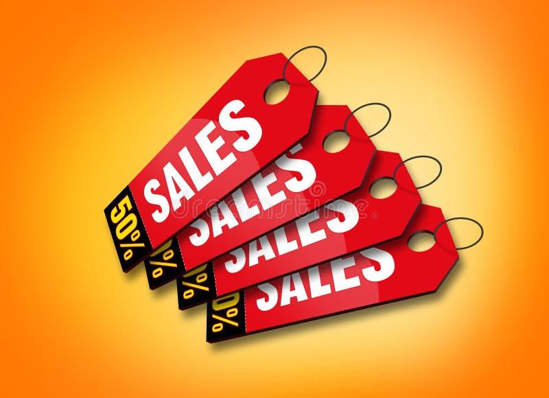 五颜六色的标签销售额 向量例证