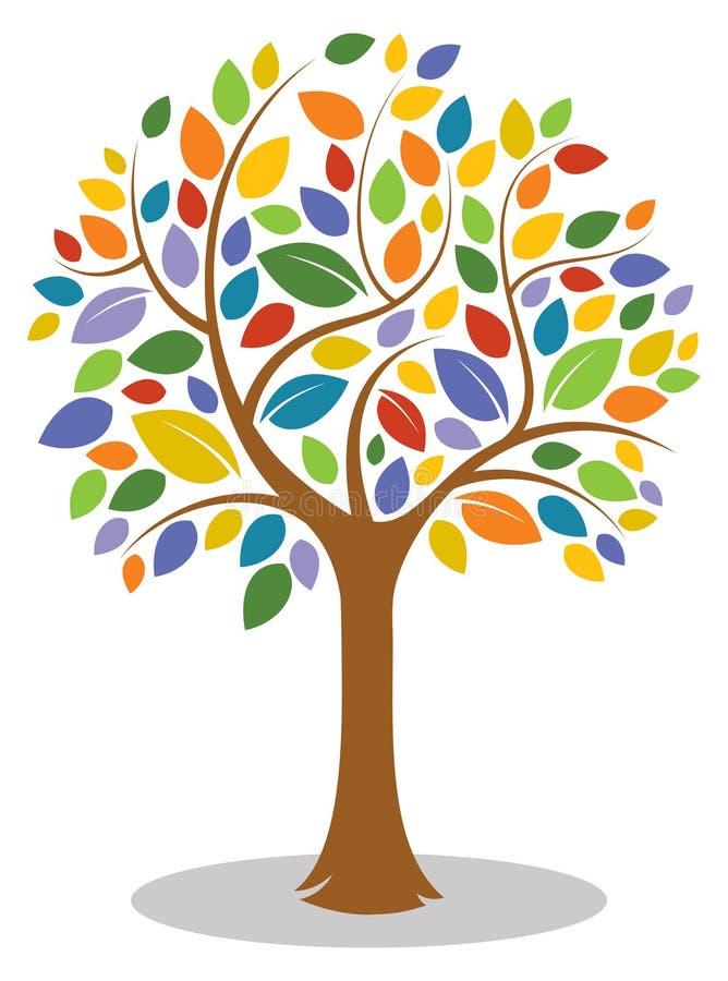 五颜六色的树商标 库存例证