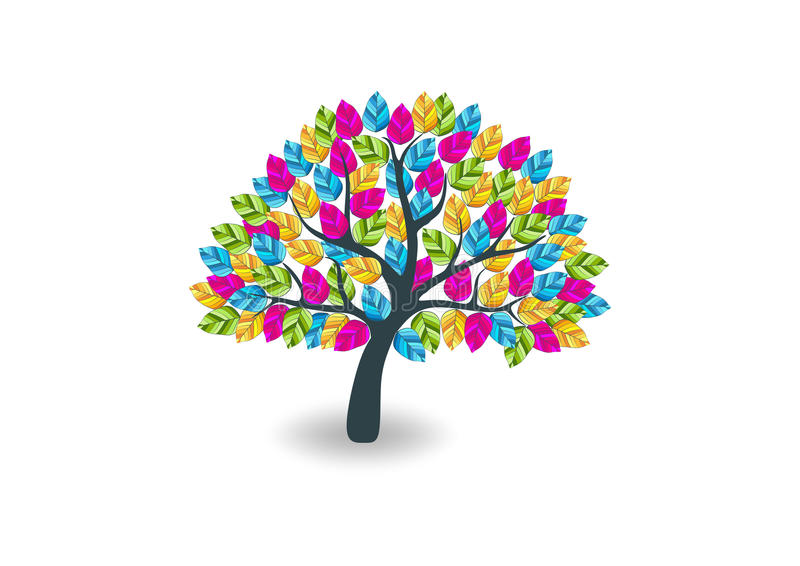 五颜六色的树商标 皇族释放例证
