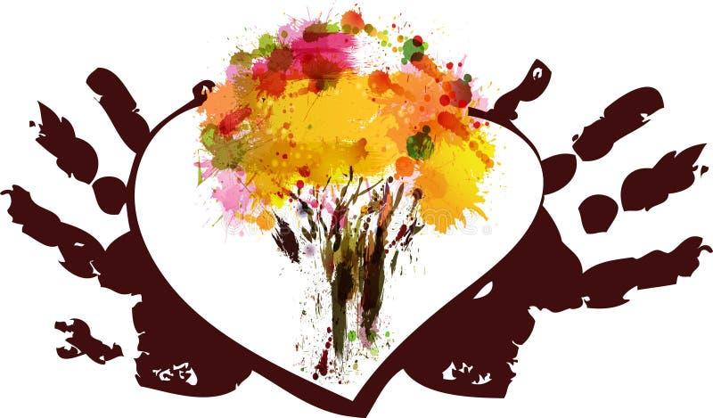 五颜六色的树在心脏 向量例证