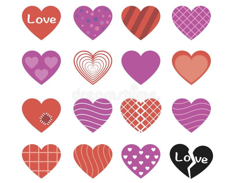 五颜六色的样式心脏象集合 库存照片