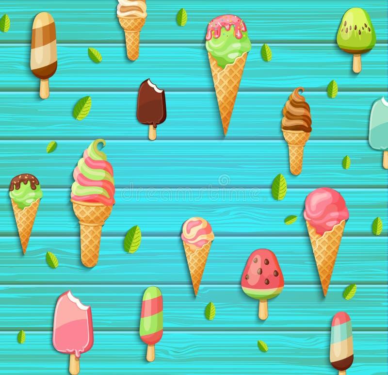 五颜六色的样式由冰淇凌制成 库存例证
