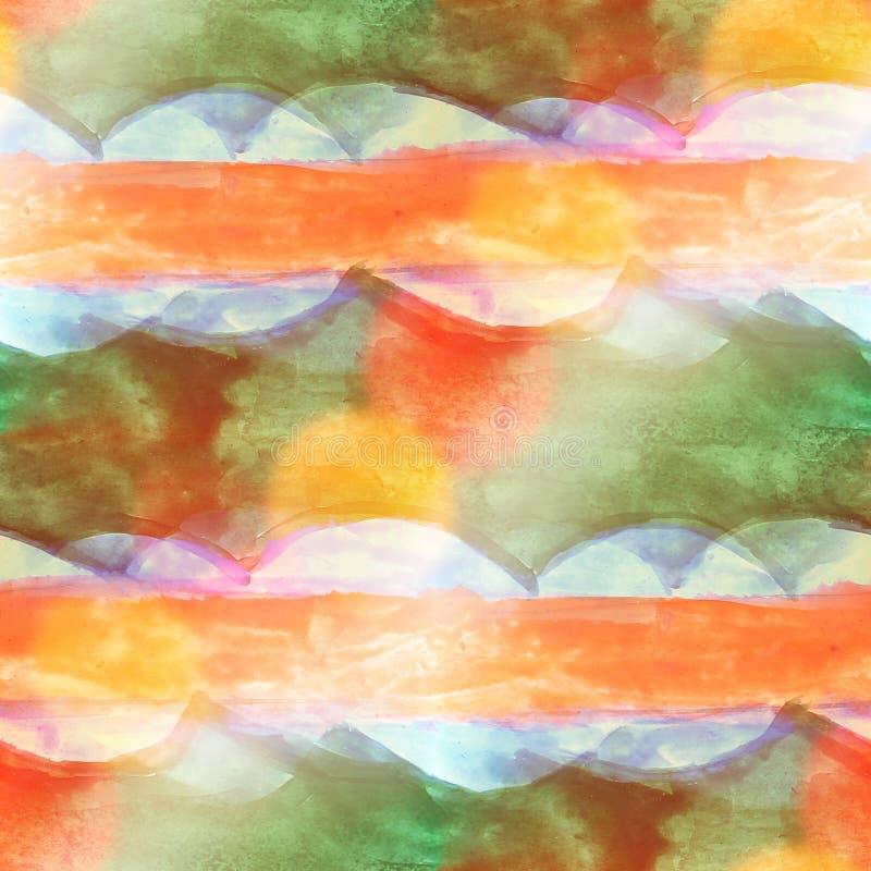绘五颜六色的样式水纹理摘要颜色无缝的ora 皇族释放例证