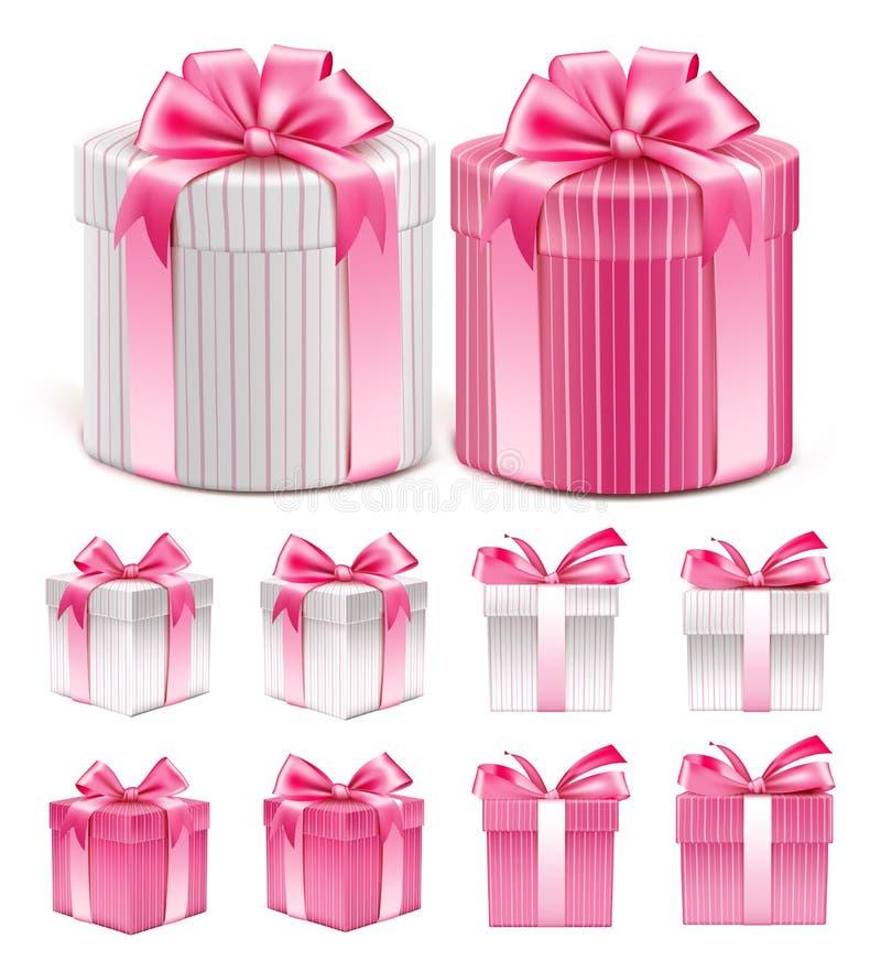 五颜六色的桃红色样式礼物盒的现实3D收藏 皇族释放例证