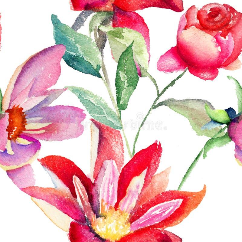 五颜六色的桃红色花,无缝的样式 向量例证