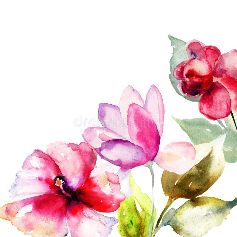 五颜六色的桃红色花 向量例证